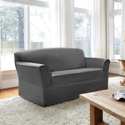 Box Cushion Loveseat Slipcover Upholstery: Slate