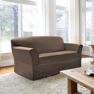 Box Cushion Loveseat Slipcover Upholstery: Tobacco