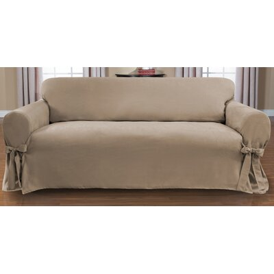 Sienna Box Cushion Sofa Slipcover Upholstery: Taupe