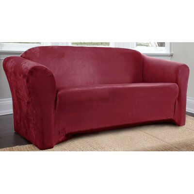 Harper Box Cushion Sofa Slipcover Upholstery: Merlot