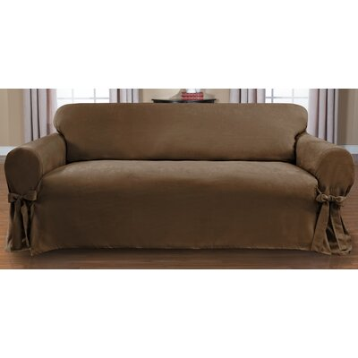 Sienna Box Cushion Sofa Slipcover Upholstery: Chocolate