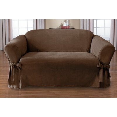 Sienna Box Cushion Loveseat Slipcover Upholstery: Chocolate