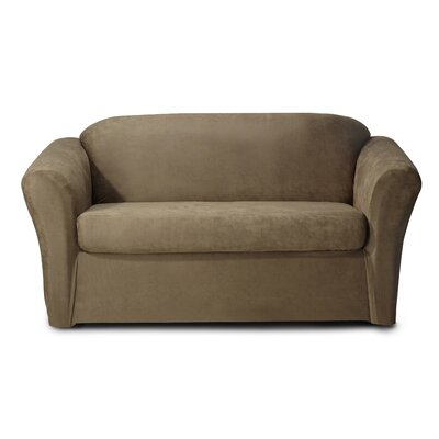 Stretch Box Cushion Loveseat Slipcover Color: Grown