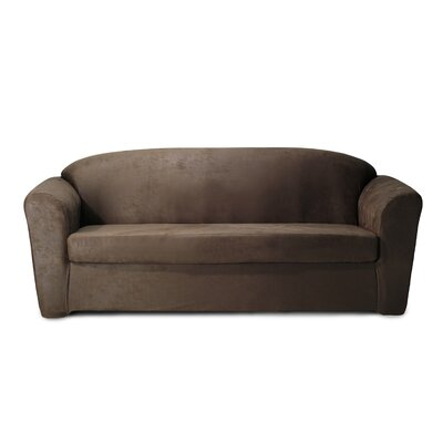 Stretch Leather Box Cushion Sofa Slipcover Color: Chocolate