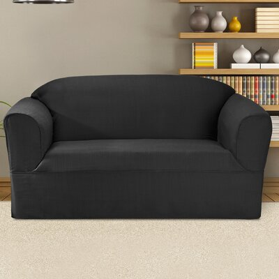 Bayleigh Box Cushion Loveseat Slipcover Color: Charcoal