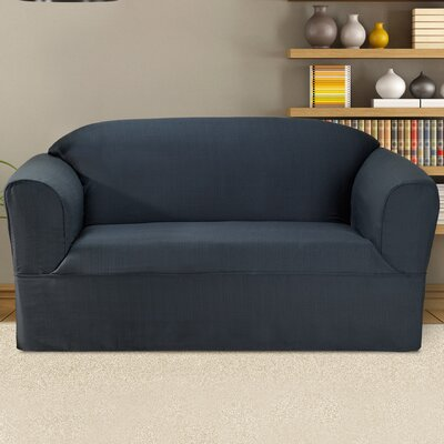 Bayleigh Box Cushion Loveseat Slipcover Color: Midnight Blue