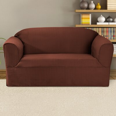 Bayleigh Box Cushion Loveseat Slipcover Color: Mahogany
