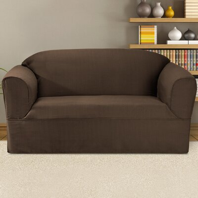 Bayleigh Box Cushion Loveseat Slipcover Color: Bark