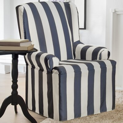 Havanna Wing Chair Skirted Slipcover Color: Midnight Blue