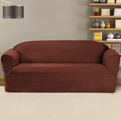 Bayleigh Box Cushion Sofa Slipcover Color: Red