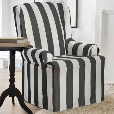 Havanna T-Cushion Wingback Slipcover Color: Charcoal