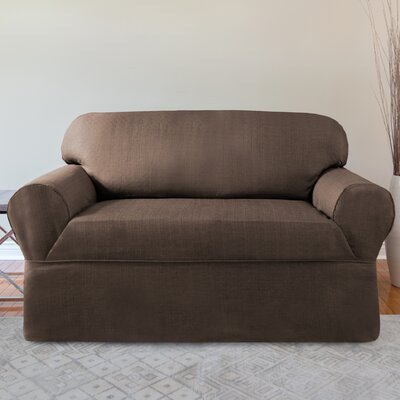 Bayside Box Cushion Loveseat Slipcover Color: Chocolate
