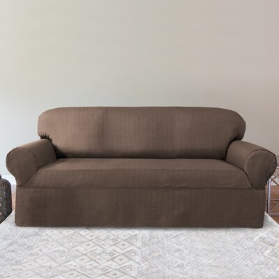 Bayside Box Cushion Sofa Slipcover Color: Chocolate