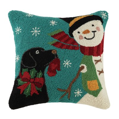 Holiday Pets Hook Cotton Throw Pillow Finish: Winter play black lab