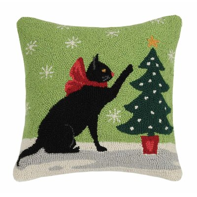 Holiday Pets Hook Cotton Throw Pillow Finish: Christmas cat tree