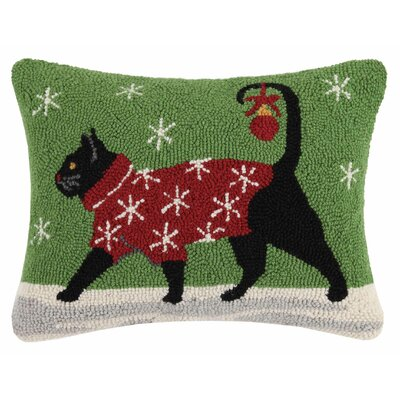 Holiday Pets Hook Cotton Throw Pillow Finish: Christmas cat sweater