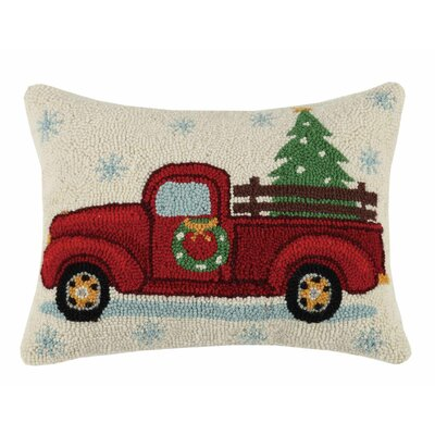 Christmas Hook Cotton Lumbar Pillow Finish: Xmas tree on truck
