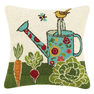 Watering Can Spring 100% Wool Throw Pillow