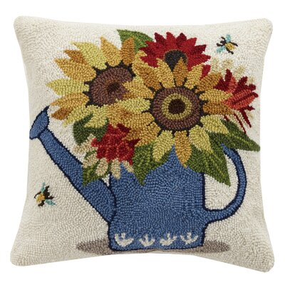 Sunflower Watering Can Spring 100% Wool Throw Pillow