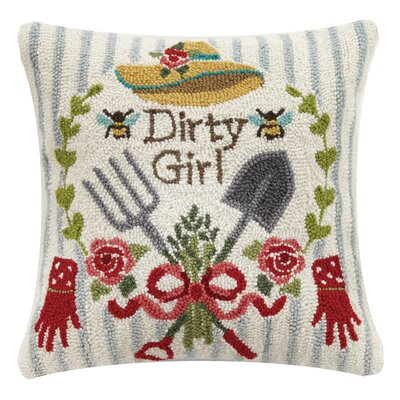 Dirty Girl Spring 100% Wool Throw Pillow
