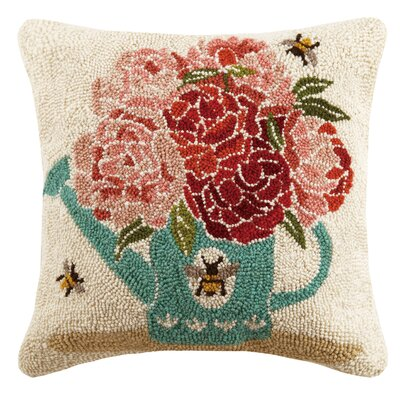 Watering Can Bees Spring 100% Wool Throw Pillow