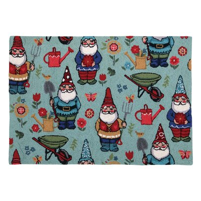 Gnomes Teal Area Rug