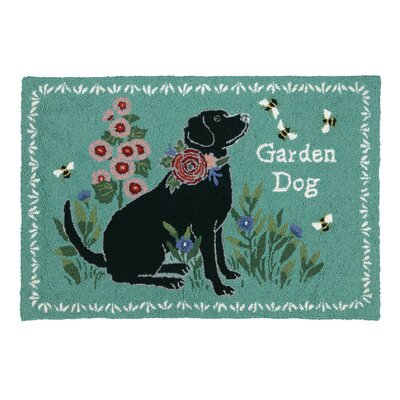 Garden Dog Teal Area Rug