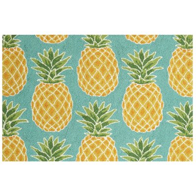 Pineapples Teal/Yellow Area Rug