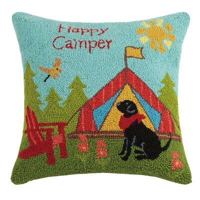 Happy Camper Hook Wool Throw Pillow