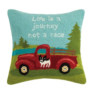 Life Is a Journey Hook Wool Throw Pillow