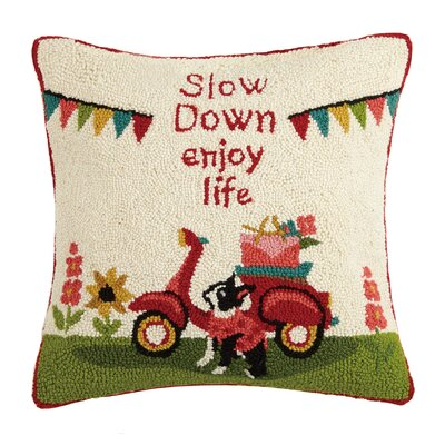 Slow Down Enjoy Life Hook Wool Throw Pillow
