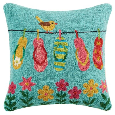 Spring Flip Flops Hook Wool Throw Pillow