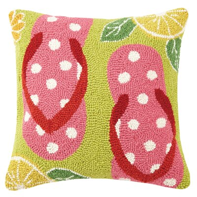 Polka Dot Flip Flop Hook Wool Throw Pillow