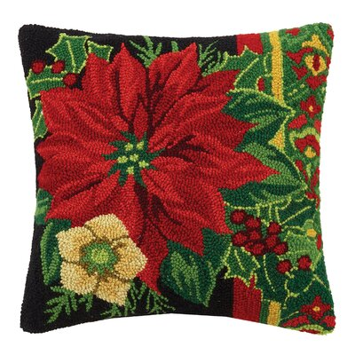 Poinsettia Hook Wool Throw Pillow