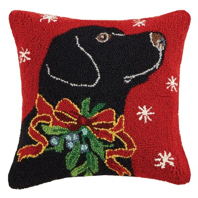 Horse/Polar Bear and Black Lab Holiday Hook Wool Throw Pillow