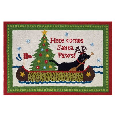 Santa Paws Hand Hooked Wool Green Area Rug