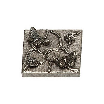 Naturalist Butterfly 2 x 2 Pewter Hand-Painted Tile in Natural Pewter