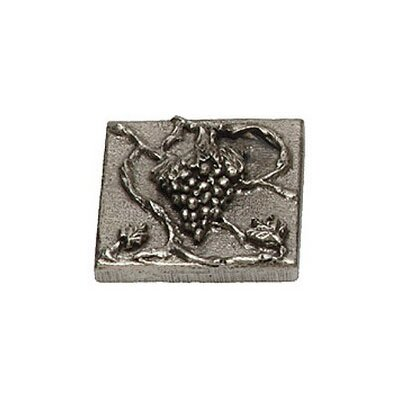 Napa Valley Grape 2 x 2 Pewter Hand-Painted Tile in Natural Pewter