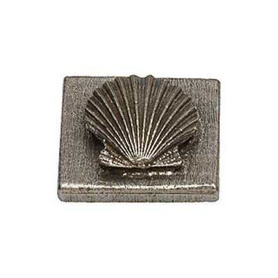 Catalina Sea Shell 2 x 2 Pewter Hand-Painted Tile in Natural Pewter
