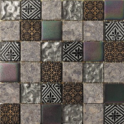 2 x 2 Glass and Natural Stone Mosaic Tile in 3 Color Blend