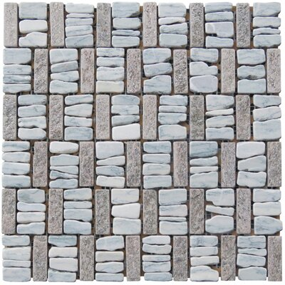 Landscape Wonder 12 x 12 Basketweave Natural Stone Blend Mosaic Tile in Gray and Tan