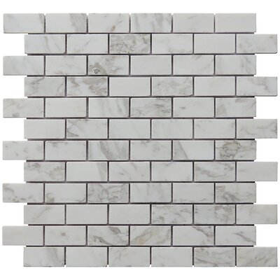 Mini Brick 1 x 2 Carrara Natural Stone Blend Mosiac Tile in White