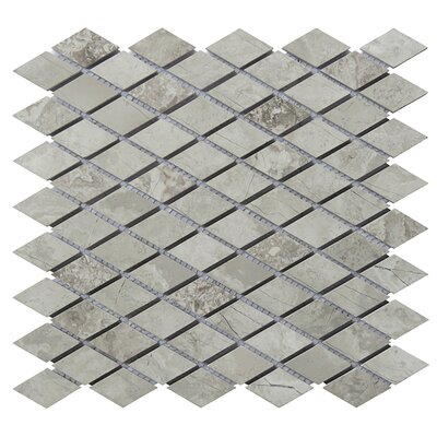 12 x 12.5 Limestone Diamond Natural Stone Blend Mosaic Tile in Gray