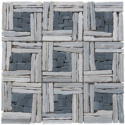 Landscape Wonder 12.5 x 12.5 Quartzite Basketweave Natural Stone Blend Mosaic Tile in Unpolished Two-tone Gray