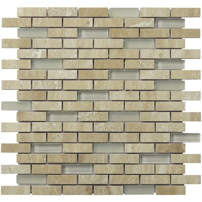 Tranquility 2 x 0.65 Natural Stone Mosaic Tile in Tan