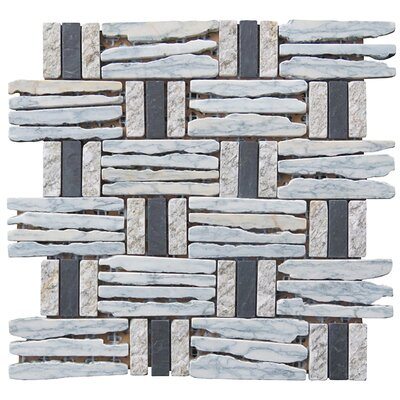 Landscape Wonder 12.5 x 12.5 Basketweave Granite Blend Mosaic Tile in Gray, Black and Black