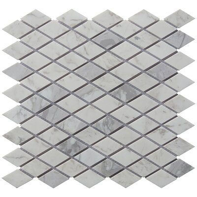 Diamond 12 x 12.5 Carrara Natural Stone Blend Mosaic Tile in White