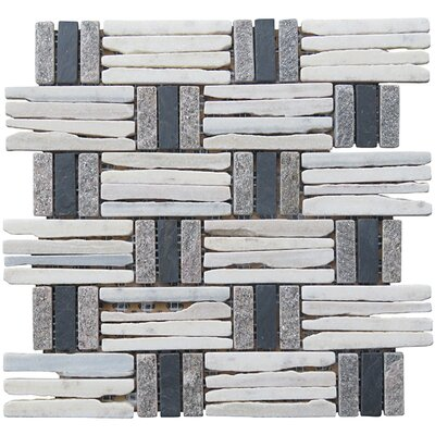 Landscape Wonder 12.5 x 12.5 Quartzite Basketweave Natural Stone Blend Mosaic Tile in Gray, White and Black