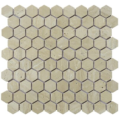 Hexagon 12 x 12.5 Travertine Natural Stone Mosaic Tile in Tan