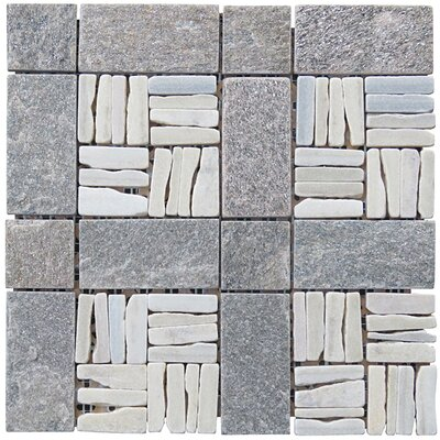 Landscape Wonder 12 x 12 Quartzite Alternate Natural Stone Blend Mosaic Tile in White and Gray